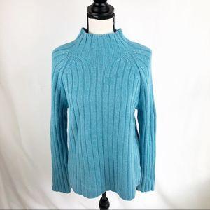 Lands End Wool Blend Mock Turtleneck Sweater